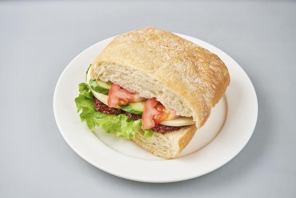 Ciabatta Sandwich with tomato and mozzarella